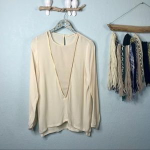 Sophie Rue Cream Blouse with V-Neck Gold Small
